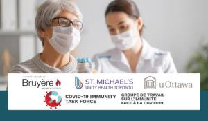 Bruyere Research Institute, St. Michael's Unity Health Toronto, uOttawa, COVID-19 Immunity Task Force logos