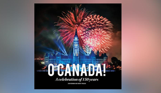 book cover with the canadian parlement and firework. the word O Canada