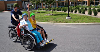Two seniors riding on a rickshaw bicycle driven by