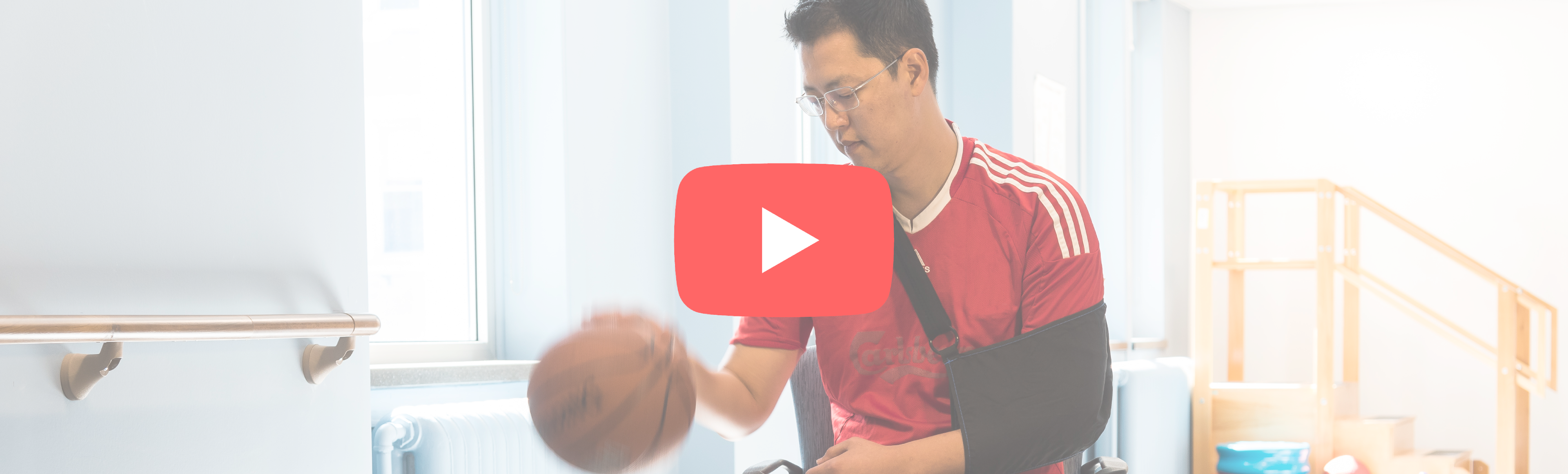 rehab patient dribbling ball