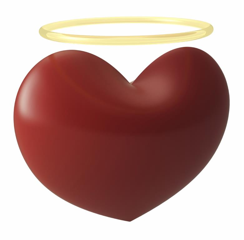 Red heart with gold halo